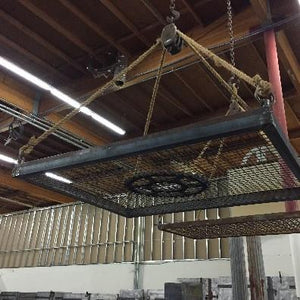 Pot Rack with one Pulley, wood, and rope