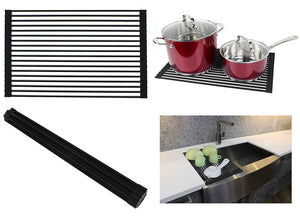 Ariel Over the Sink / Countertop Multipurpose Roll-Up Dish Drying Rack (Black) - Silicone Coated Stainless Steel - Flat Stripe Design - Dishwasher Safe, Heat Resistant, Trivet, Colander, Food Defrost