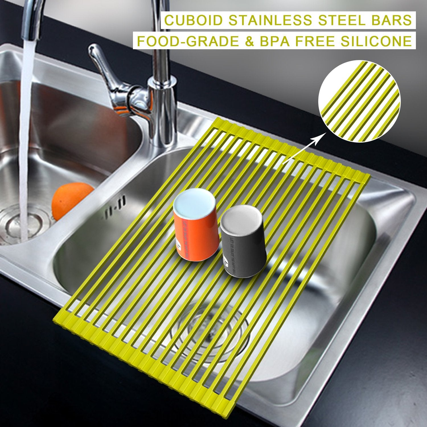 AphroD Roll-Up Dish Drying Rack,Over the Sink Dish Drainer Rack, Stainless Steel Multipurpose Dish Drying for Tableware, Fruits Veggies, Silicone Wrapped Folding Dish Drainer (Lemon Yellow)