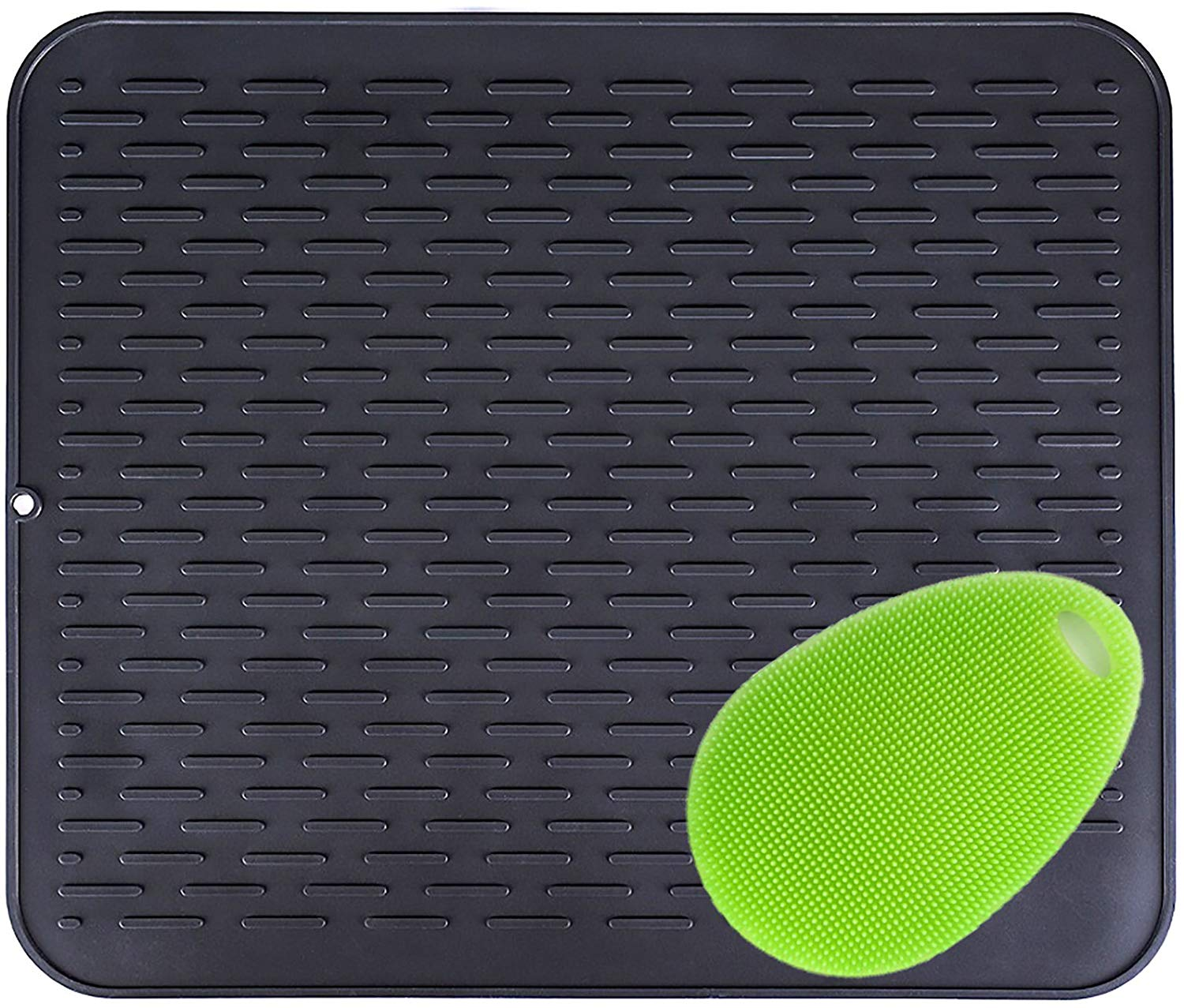 Kitchen Silicone Dish Drying Mat Counter Mat Heat Insulation, Draining Boards Silicone Trivet with a silicone clean Scrubber, Non-Slip(17.8x15in, black)