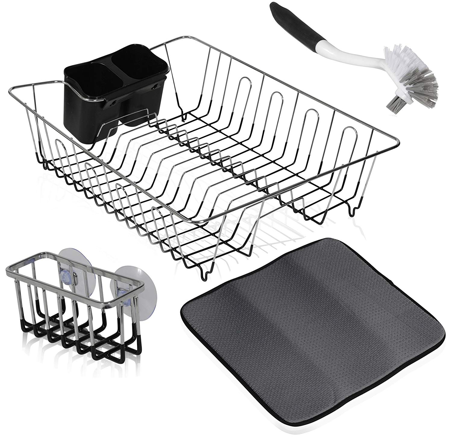 Complete Kitchen Drain Organizer Set With 2 Sided Dish Cleaning Scrub Brush + Dish Rack With Cutlery Holder + 2 Suction Cloth/Sponge Holder + Dish Drying Mat
