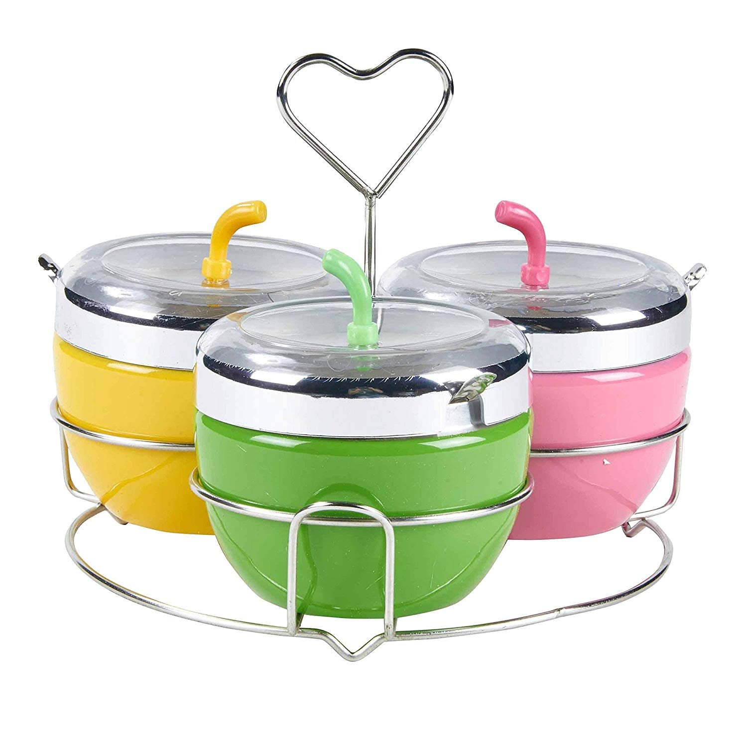 Multi-functional Colorful Stainless Steel Condiment Seasoning Containers Pots Set with Spoons and Rack/Shelf,Silver Tone(Apple Pattern Design),Green,Yellow&Pink