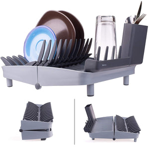 Folding Dish Rack, Collapsible Drying Rack Organizer for Medium and Small Plates, Glasses and Utensils, Easy to Clean, Perfect for Space Saving
