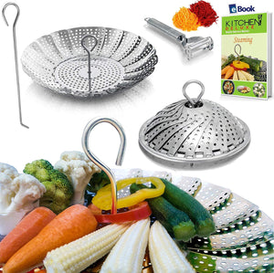 PREMIUM Silicone Vegetable Steamer Basket - Red - BEST Bundle - Fits Instant Pot - BONUS Accessories - eBook + Julienne Peeler - 100% Silicon - Food Steam Insert - For Instapot Pressure Cooker