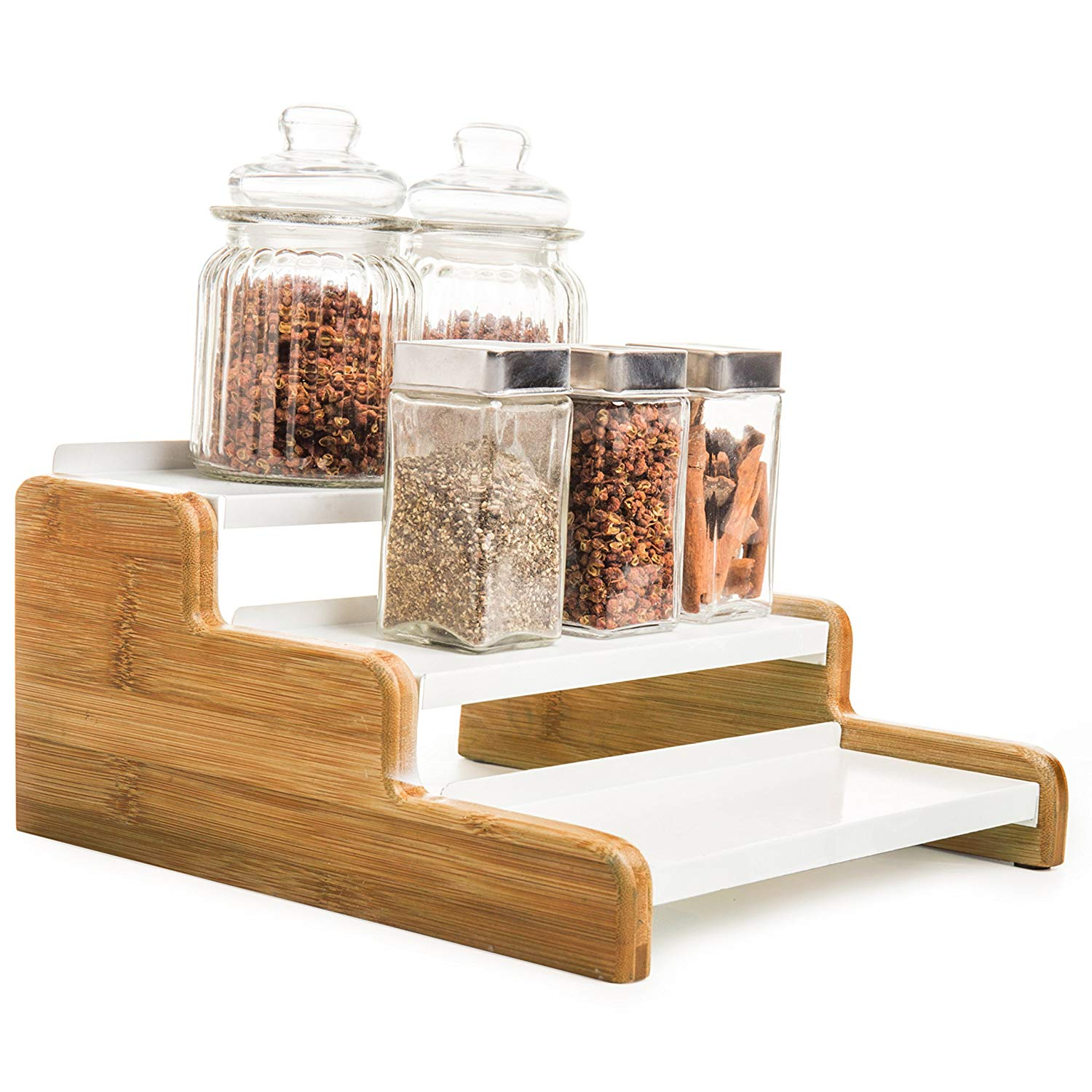 MyGift 3-Tier Wood & Metal Spice Rack Organizer, Kitchen Counter Storage Shelf
