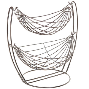 Gun Metal Double Hammock 2 Tier Fruit/Vegetables/Produce Metal Basket Rack Display Stand - MyGift