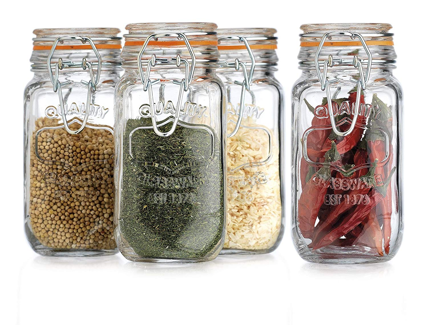 HC Elegant Home Airtight Glass Spice Jar Hermetic Seal Bail & Trigger/Jar with Lid 6 Ounce Each Use As Spice Canister Set of 4 6 Ounce Each