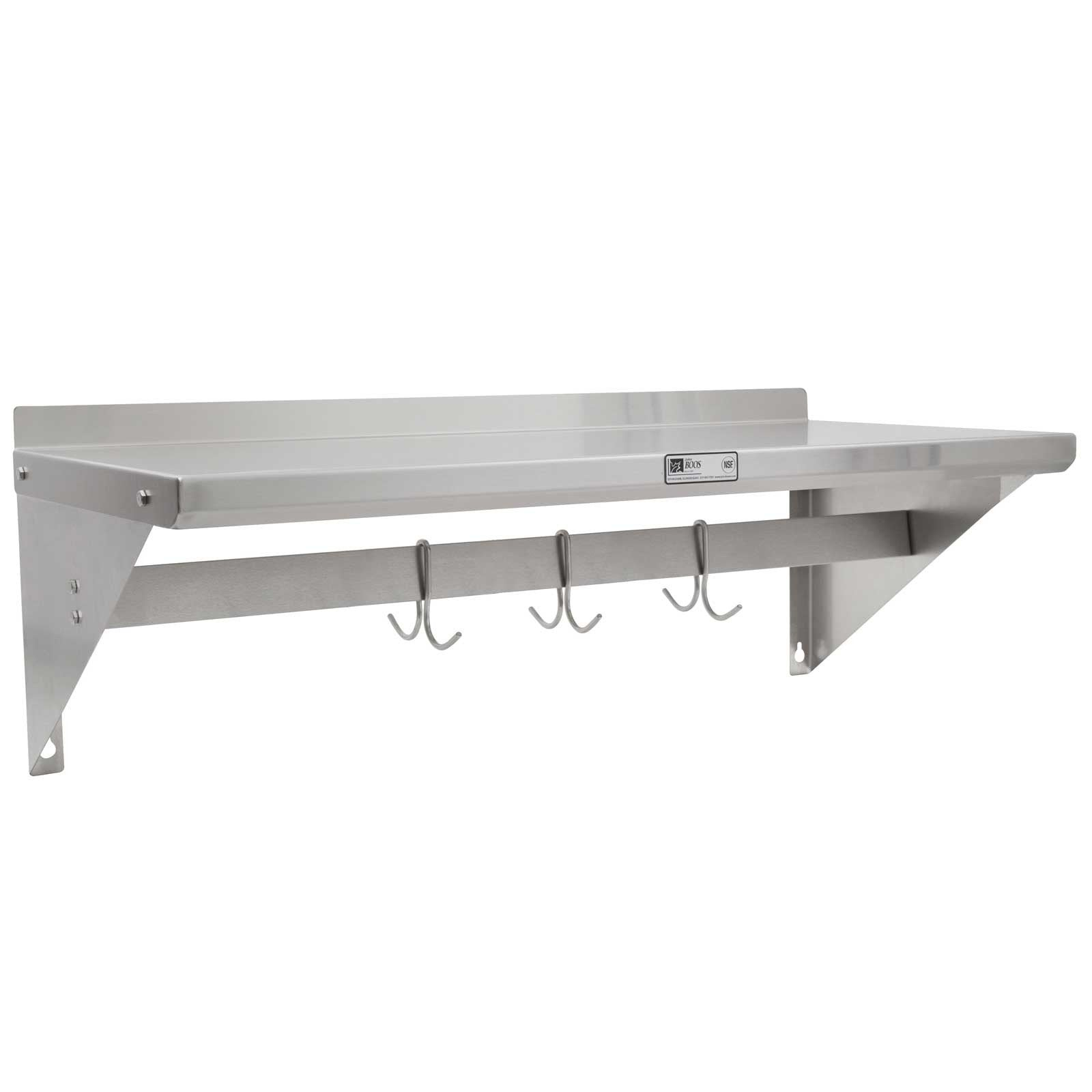 "John Boos BHS12120PR Wall Shelf - 1 1/2"" Riser - With Pot Rack - 120"" X 12"""