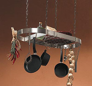 Rogar Stainless Steel Oval Pot Rack with Grid
