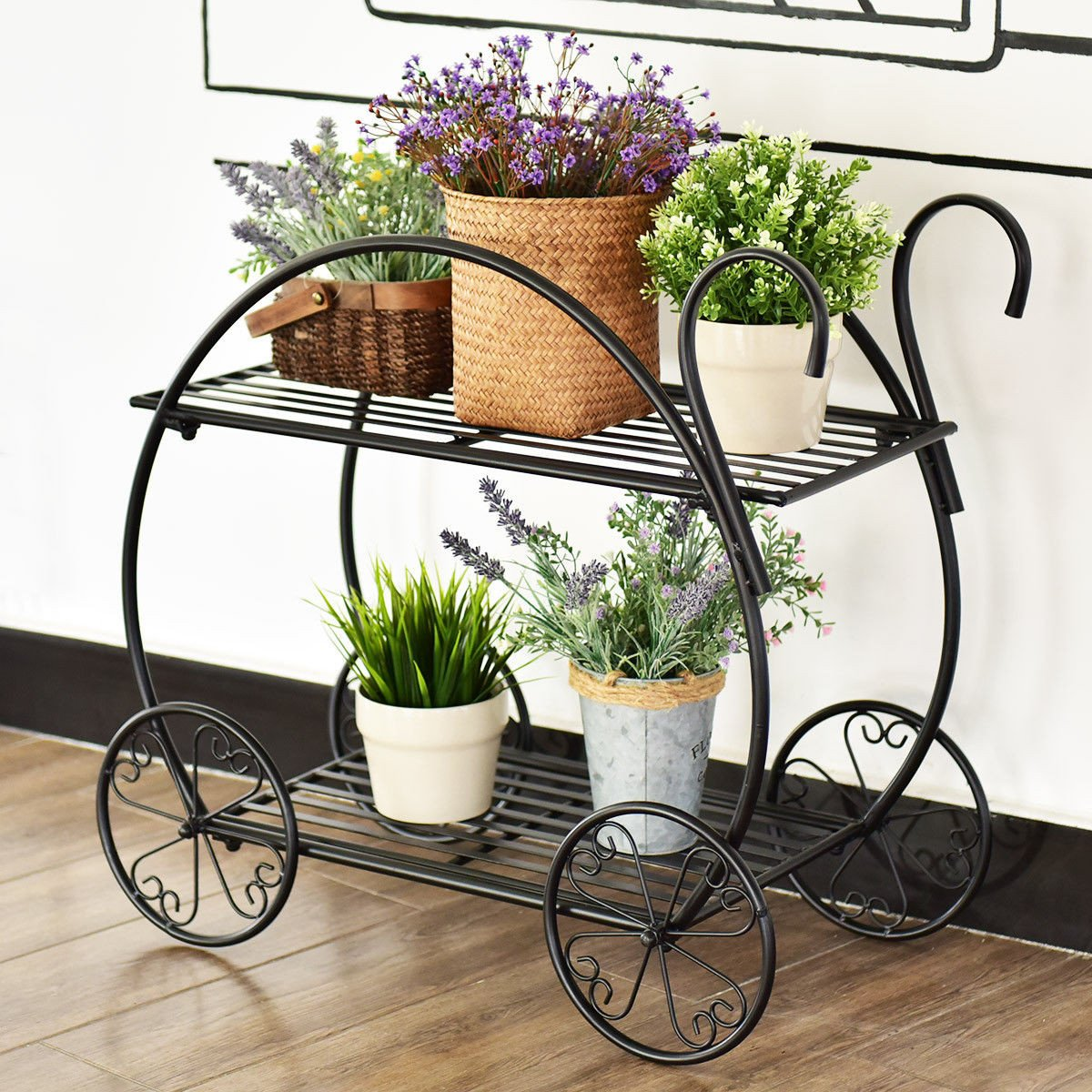 Costway Heavy Duty Metal Flower Cart Pot Rack Plant Display Stand Holder Decor