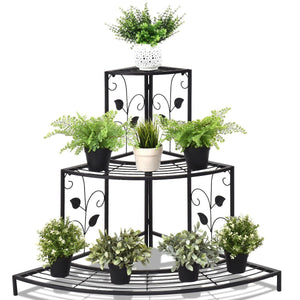 3 Tier Floral Corner Metal Plant Pot Rack