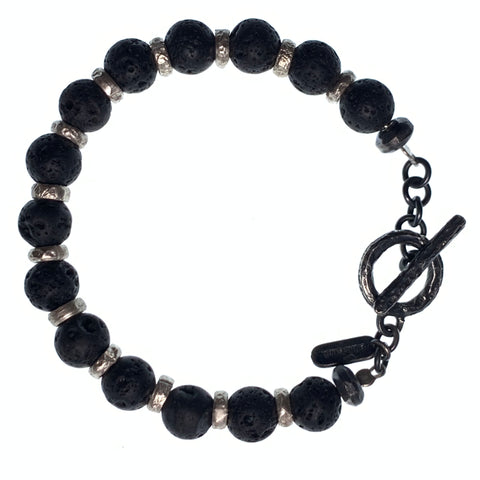 Lava stone handmade bracelet with 925 sterling silver spacer - Alkemi Designs