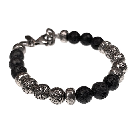 Lava Stone Bead Bracelet with Solid Sterling Silver cast beads. - Alkemi Designs