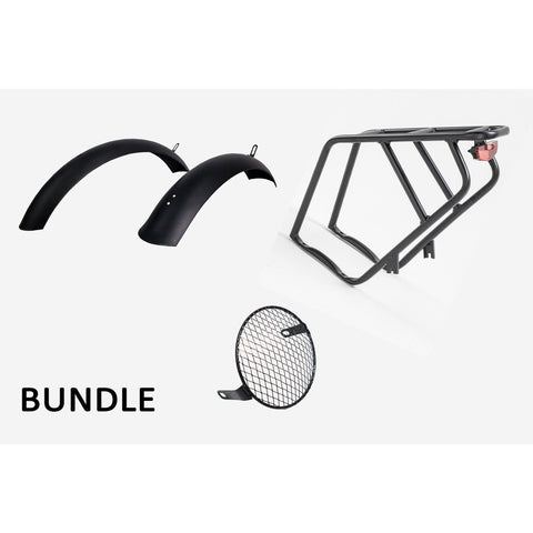 Civi Bikes Accessories Cheetah Rear Rack & Tail Light Cheetah Rear Rack, Fender And Headlight Protector Bundle