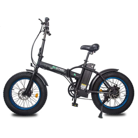 Ecotric Electric Bikes Black Blue Ecotric 48V Fat Tire Portable & Folding Electric Bike with LCD display FAT20S900