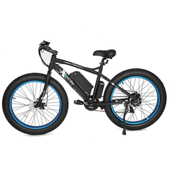 Ecotric Electric Bikes Black Blue Ecotric Fat Tire Beach Snow Electric Bike FAT26S900USB