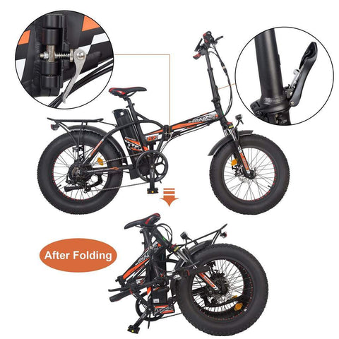 Ecotric Electric Bikes Ecotric 48V Fat Tire Portable & Folding Electric Bike With Color LCD - FAT20850C