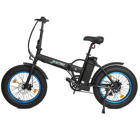 Ecotric Electric Bikes Matte Black Blue Ecotric Fat Tire Portable & Folding Electric Bike FAT20810