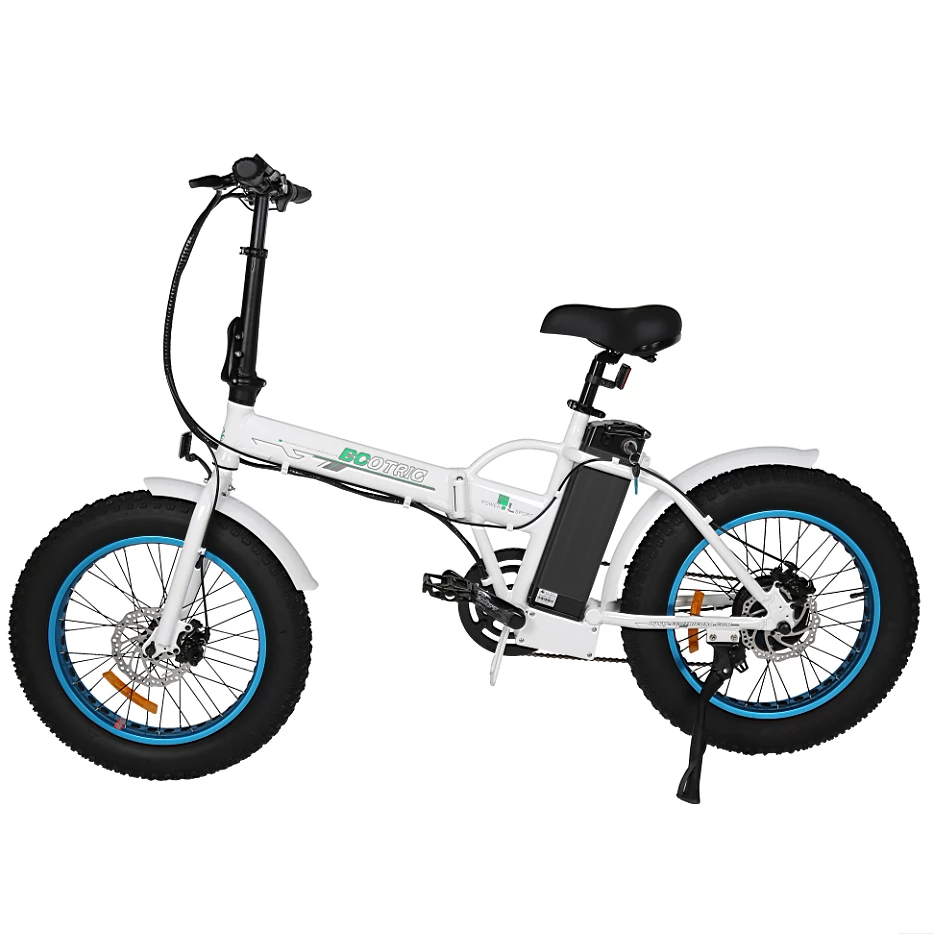 Ecotric Electric Bikes White Blue Ecotric Fat Tire Portable & Folding Electric Bike FAT20810