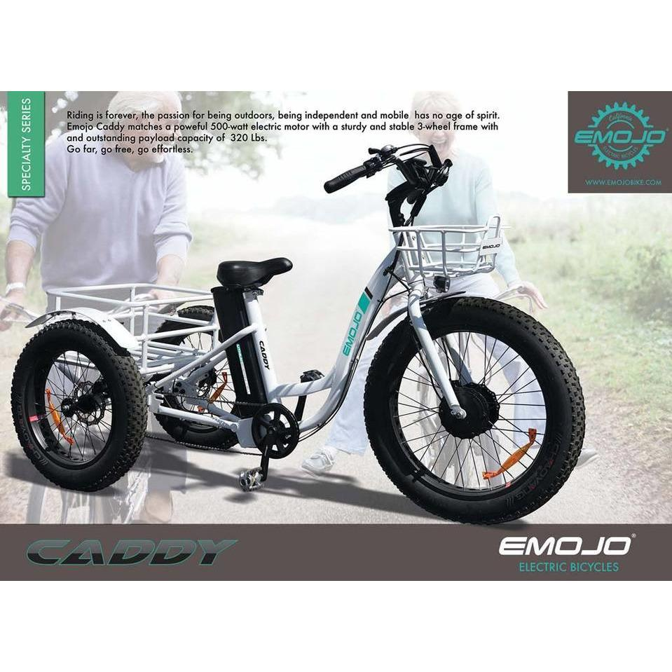 Oversize Rear Basket and Front Basket for Heavy-Duty Carrying or Delivery Emojo Caddy//Caddy Pro Fat Tire 500W 48V with Lithium Rechargeable Battery