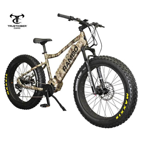 Rambo Electric Bikes In Stock RAMBO Bushwacker 750W XP TT Western Camo 11.6 AH Electric Hunting Bike