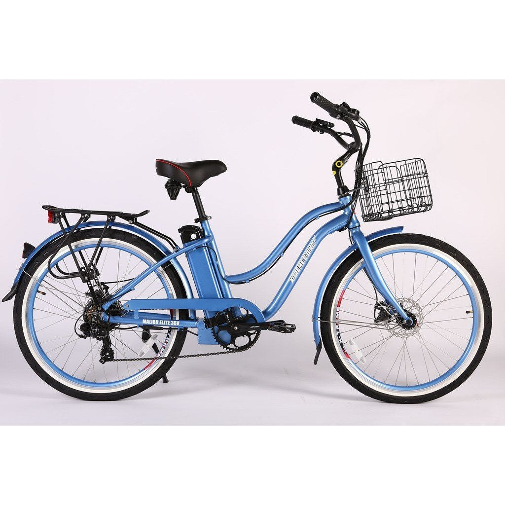 X-Treme Electric Bikes Baby Blue / Pre Order (Estimated Ship Date: 12 April 2021) X-Treme Malibu Elite Max 36 Volt Lithium Powered Electric Step-Through Beach Cruiser Bicycle