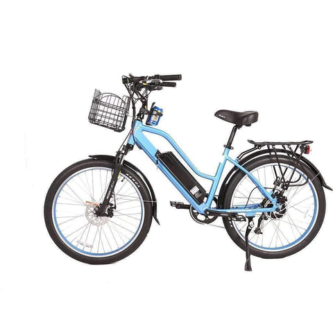 X-Treme Electric Bikes Baby Blue X-Treme Catalina 48 Volt Lithium Powered Electric Step-Through Beach Cruiser Bicycle