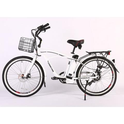 X-Treme Electric Bikes Metallic White / Pre Order (Estimated Ship Date: 12 April 2021) X-Treme Newport Elite Max 36 Volt Lithium Powered Electric Beach Cruiser Bicycle