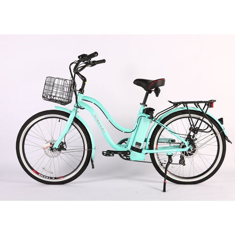 X-Treme Electric Bikes Mint Green / Pre Order (Estimated Ship Date: 12 April 2021) X-Treme Malibu Elite Max 36 Volt Lithium Powered Electric Step-Through Beach Cruiser Bicycle