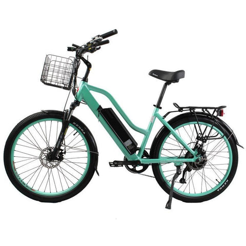 X-Treme Electric Bikes Mint Green X-Treme Catalina 48 Volt Lithium Powered Electric Step-Through Beach Cruiser Bicycle