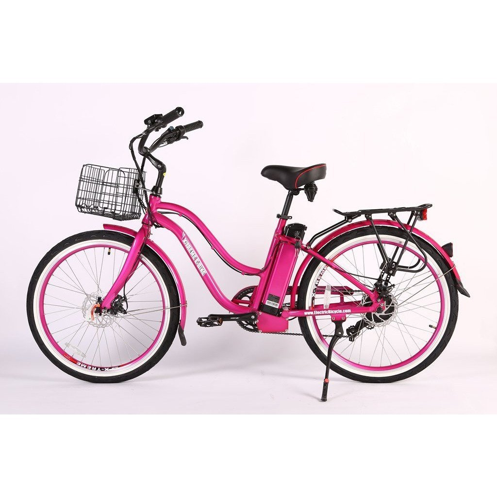 X-Treme Electric Bikes Pink / Pre Order (Estimated Ship Date: 12 April 2021) X-Treme Malibu Elite Max 24 Volt Lithium Powered Electric Step-Through Beach Cruiser Bicycle