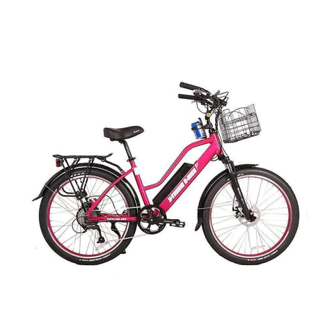X-Treme Electric Bikes Pink X-Treme Catalina 48 Volt Lithium Powered Electric Step-Through Beach Cruiser Bicycle