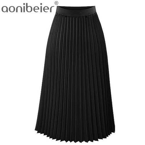 High Waist Pleated Solid Color Elastic Skirt