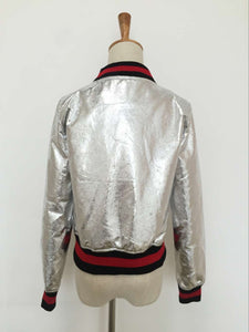 PU Faux Leather Short Baseball Jacket