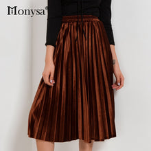 Load image into Gallery viewer, 2018 Autumn Winter Fashion Streetwear Midi Skirt Ladies Elastic Hight Waist Casual Skirt Black Green