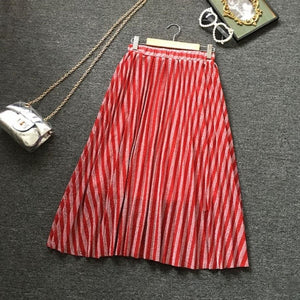 Red striped skirt 2019