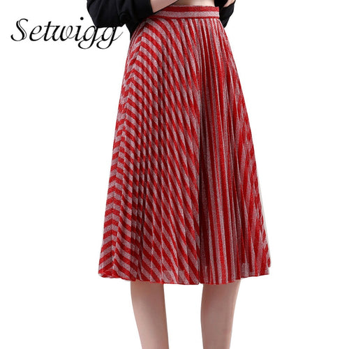 Spring Metallic Red/Silver Striped Pleated Midi Skirts