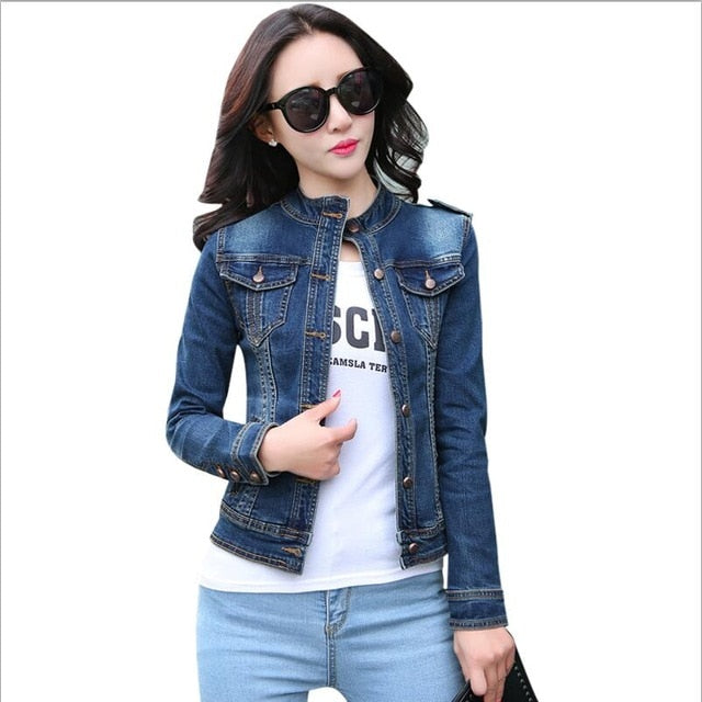 Denim Jackets Spring Autumn Long Sleeve Stand