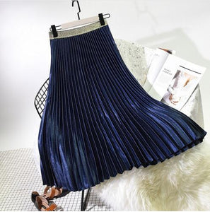 Winter Women Elegant Pleated Skirt Elastic Waist