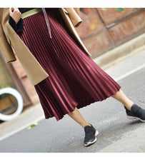 Load image into Gallery viewer, Winter Women Elegant Pleated Skirt Elastic Waist