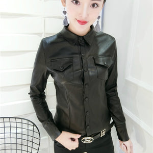 Women Fashion Long Sleeve Black Fake Leather Shirts