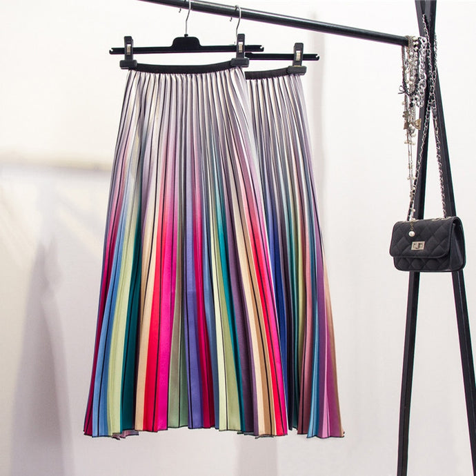 High Waist A-Line Pleated Skirt