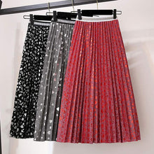 Load image into Gallery viewer, Sweet Hearts Dobby Metallic Gauze Long Pleated Skirt