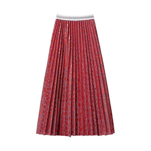 Sweet Hearts Dobby Metallic Gauze Long Pleated Skirt