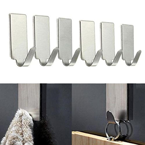 Miklan Self Adhesive Home Kitchen Wall Door Stainless Steel Holder Hook Hanger Kitchen Office Hanger Clothes Bags Towels Plants Storage Rack Tool 6Pcs