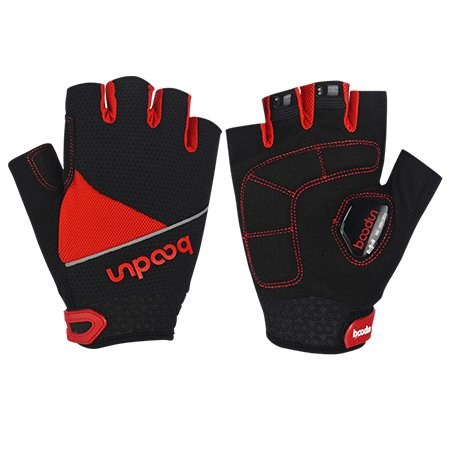 Mens Outdoor Bicycle Cycling Riding Half Finger Gloves Silicone Shock-absorbing Non-Slip Gel Pad Gloves Mountain MTB Road Bike Racing(Red) (L)