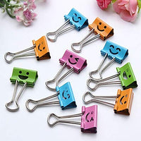 HHBack 10 Pcs Smile Metal Clip Cute Binder Clips Album Paper Clips Stationary Office Supplies