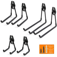 Ihomepark Heavy Duty Garage Storage Utility Hooks for Ladders & Tools, Wall Mount Garage Hanger & Organizer - Tool Holder U Hook with Anti-Slip Coating (6 Pack - Black)