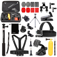 Luxebell 25-in-1 Bike Accessories Bundle for Gopro Hero 4 Black Silver Hero+ Lcd 3+ 3 Camera and Sjcam Sj4000 Sj5000 - Chest Harness / Head Strap / Floating Grip / Clip Mount / Selfie Stick
