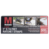 Mann Ratchet Tie Downs Straps 6-Pack with S-hooks 1-Inch x 15-Feet 500 Lbs Load Cap - 1500 Lb Break Strength (Red)